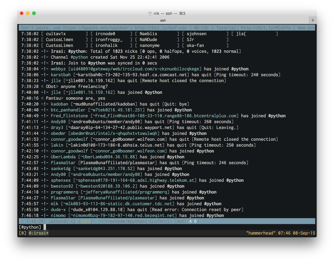 Irssi in the Spacegray Terminal theme